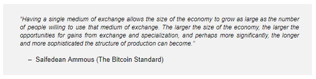 Bitcoin standard single currency
